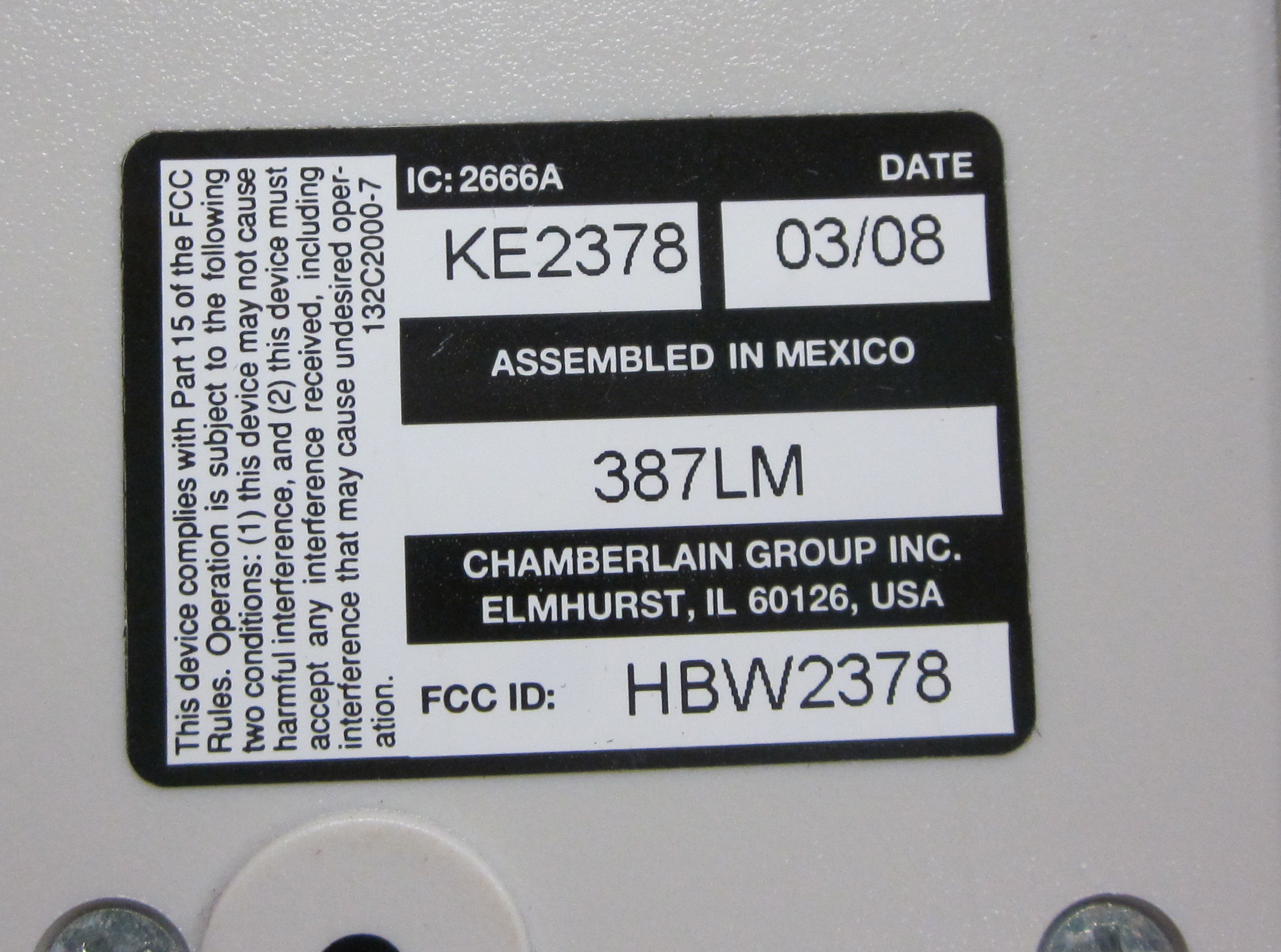 Liftmaster Model Number on Back  (3)